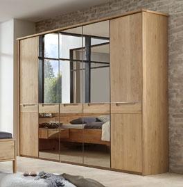 Spiegel-Drehtüren-Kleiderschrank Fria aus robustem Massivholz