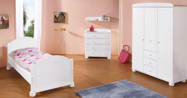 komplette kinderzimmer einrichtung clara in wei lackiert. Black Bedroom Furniture Sets. Home Design Ideas