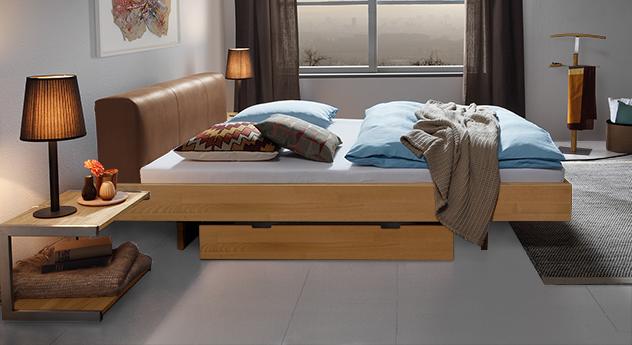 Bett Vimara aus Buche-Massivholz in Natur