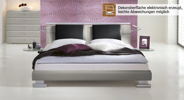 Super modernes Bett Malaga in metallfarben