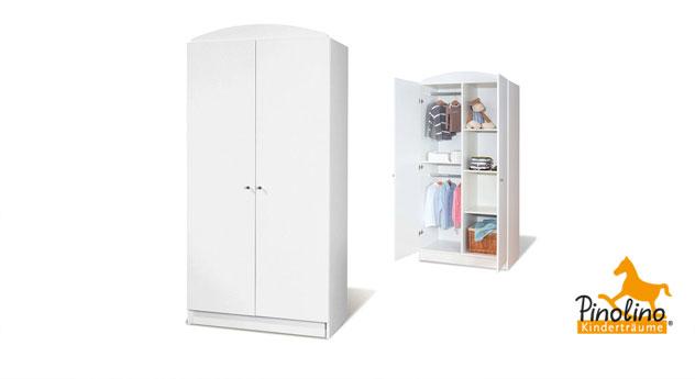 Kleiderschrank Lucy in weißem Uni-Dekor Variante 01 2 Türen