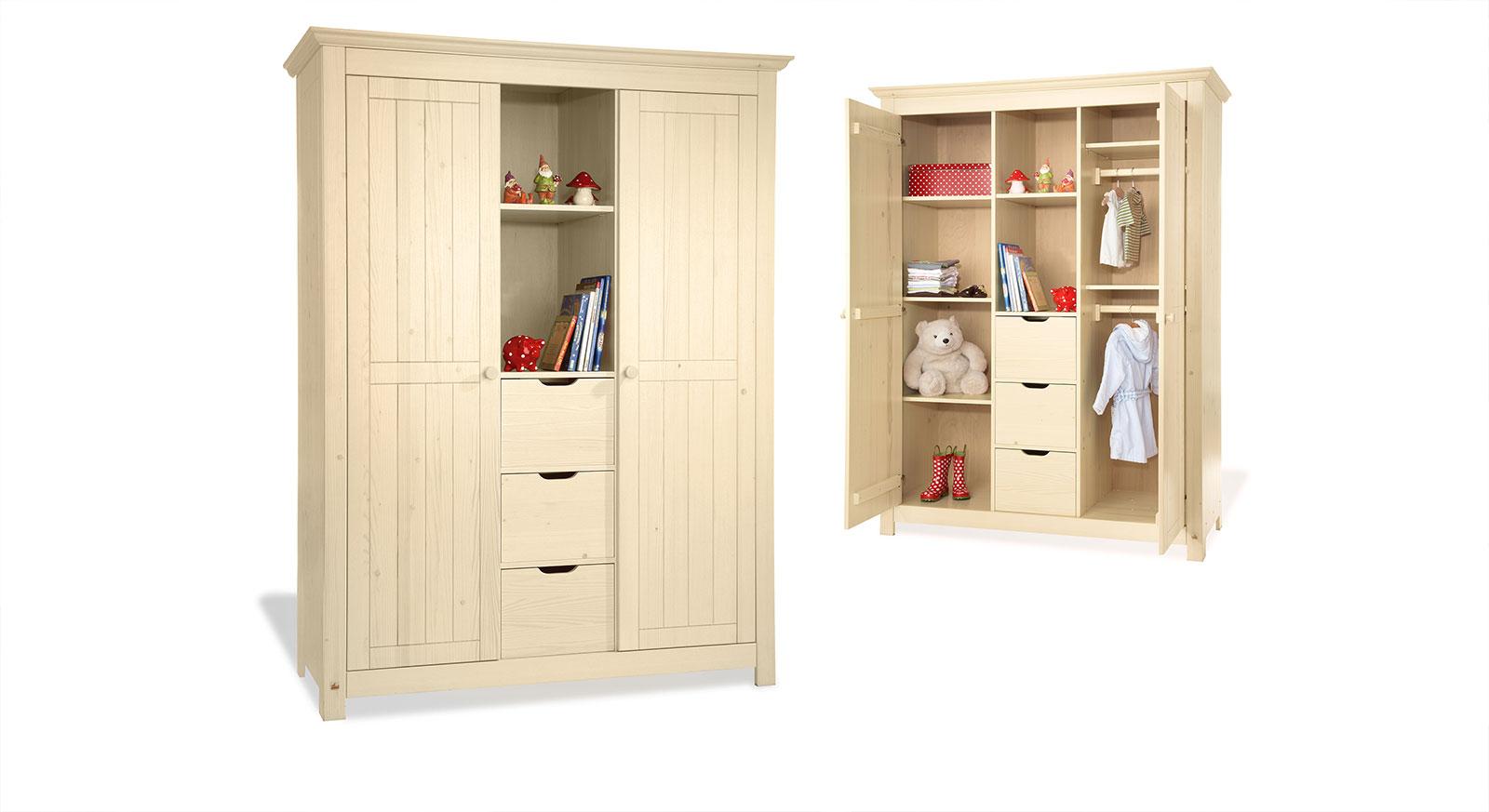 Kleiderschrank Nora Massivholz stabil zwei Türen drei Schubladen