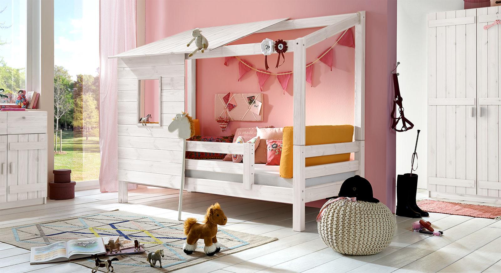 Abenteuer-Bett Kids Paradise für Mädchen in Kiefer, weiß
