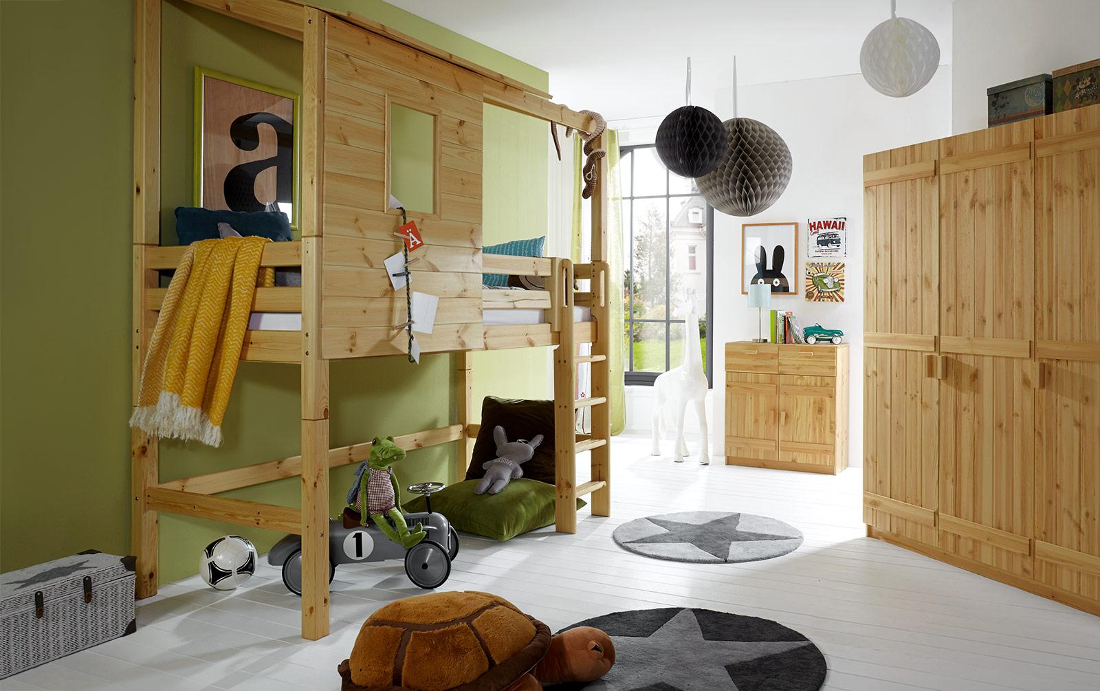 Abenteuer-Hochbett Kids Paradise in geölter Kiefer mit gerader Leiter, 140cm