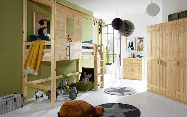 Abenteuer-Hochbett Kids Paradise in Natur, lackiert, mit gerader Leiter und 140cm