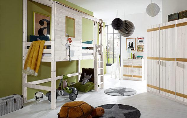 Abenteuer-Hochbett Kids Paradise in Weiß mit Kiefer und gerader Leiter, 140cm