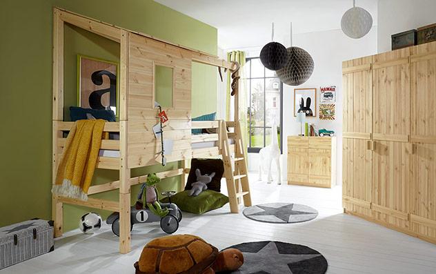 Lackiertes, naturfarbenes Abenteuer-Hochbett Kids Paradise in 117 cm Bettrahmenhöhe
