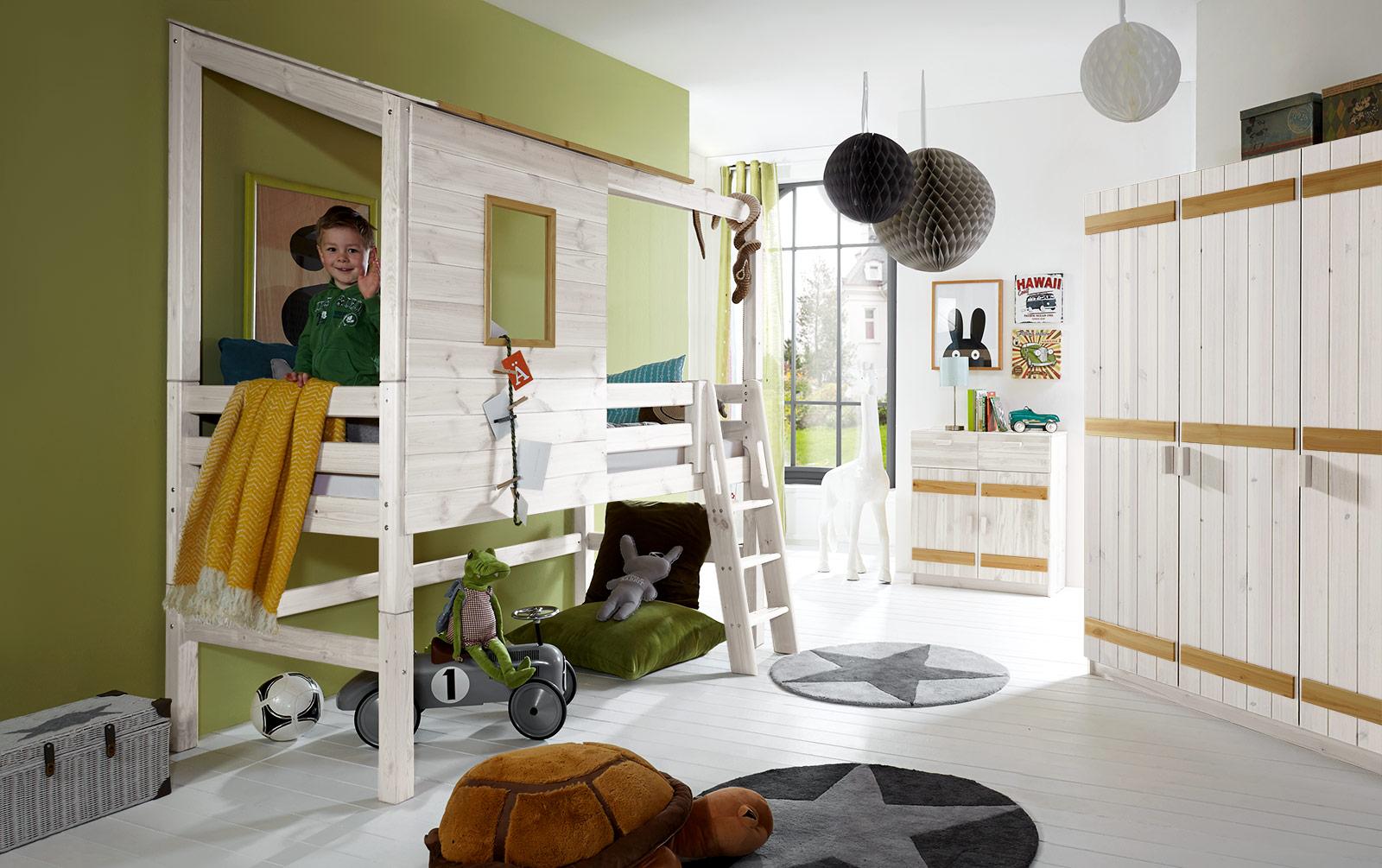 Abenteuerhochbett Kids Paradise in Weiß mit gelaugten Absetzungen