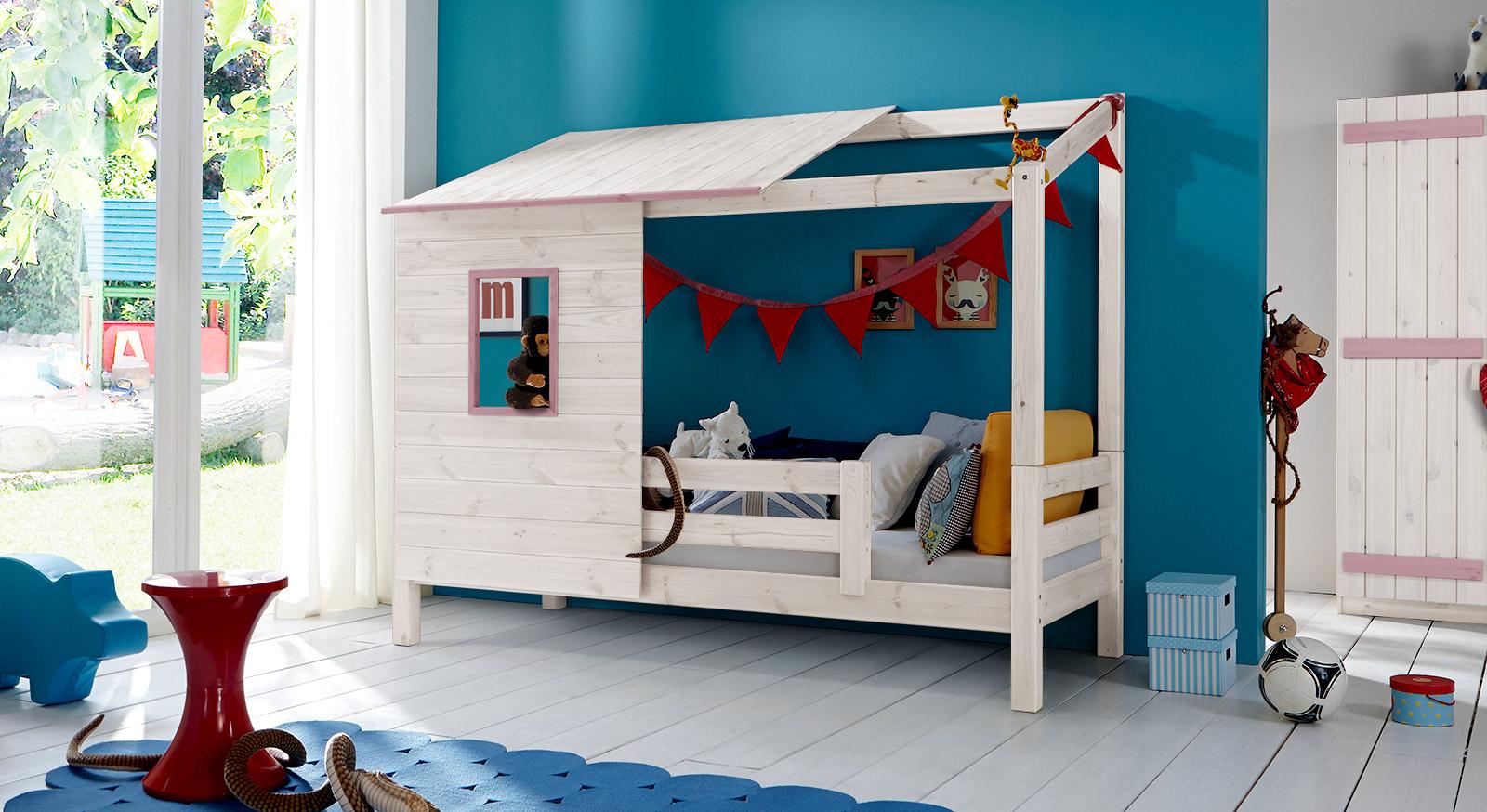 Abenteuerbett Kids Paradise aus Massivholz in Weiß mit Querleisten in Flieder
