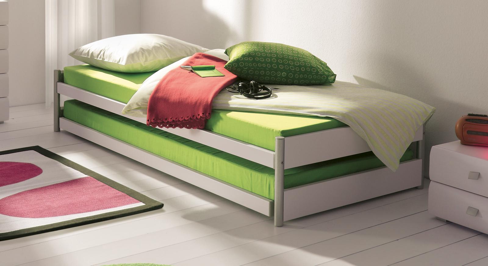 Einzelbett mit unterbett weiß  Ausziehbett mit Ober- und Unterbett in Kombination - Tom