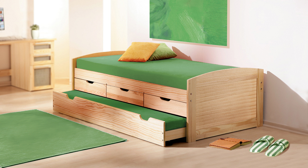 ausziehbett in 90x190 cm aus massivholz kinderbett ben. Black Bedroom Furniture Sets. Home Design Ideas