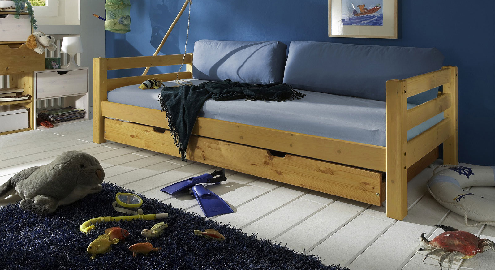 jugendbett zum ausziehen aus massivholzbett kids paradise. Black Bedroom Furniture Sets. Home Design Ideas