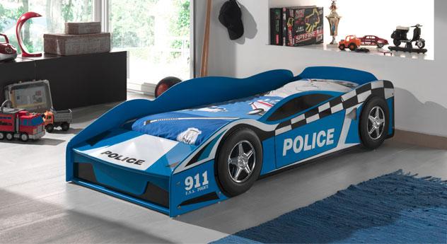 Blau lackiertes Autobett Blue Light