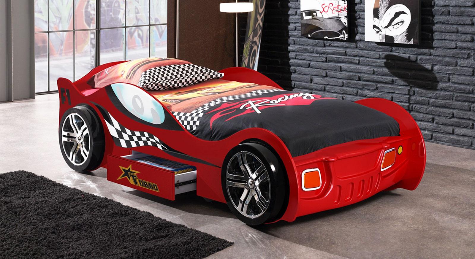Kinderbett auto weiss  Auto-Kinderbett mit Schublade und Seitenschutz - Drift rot