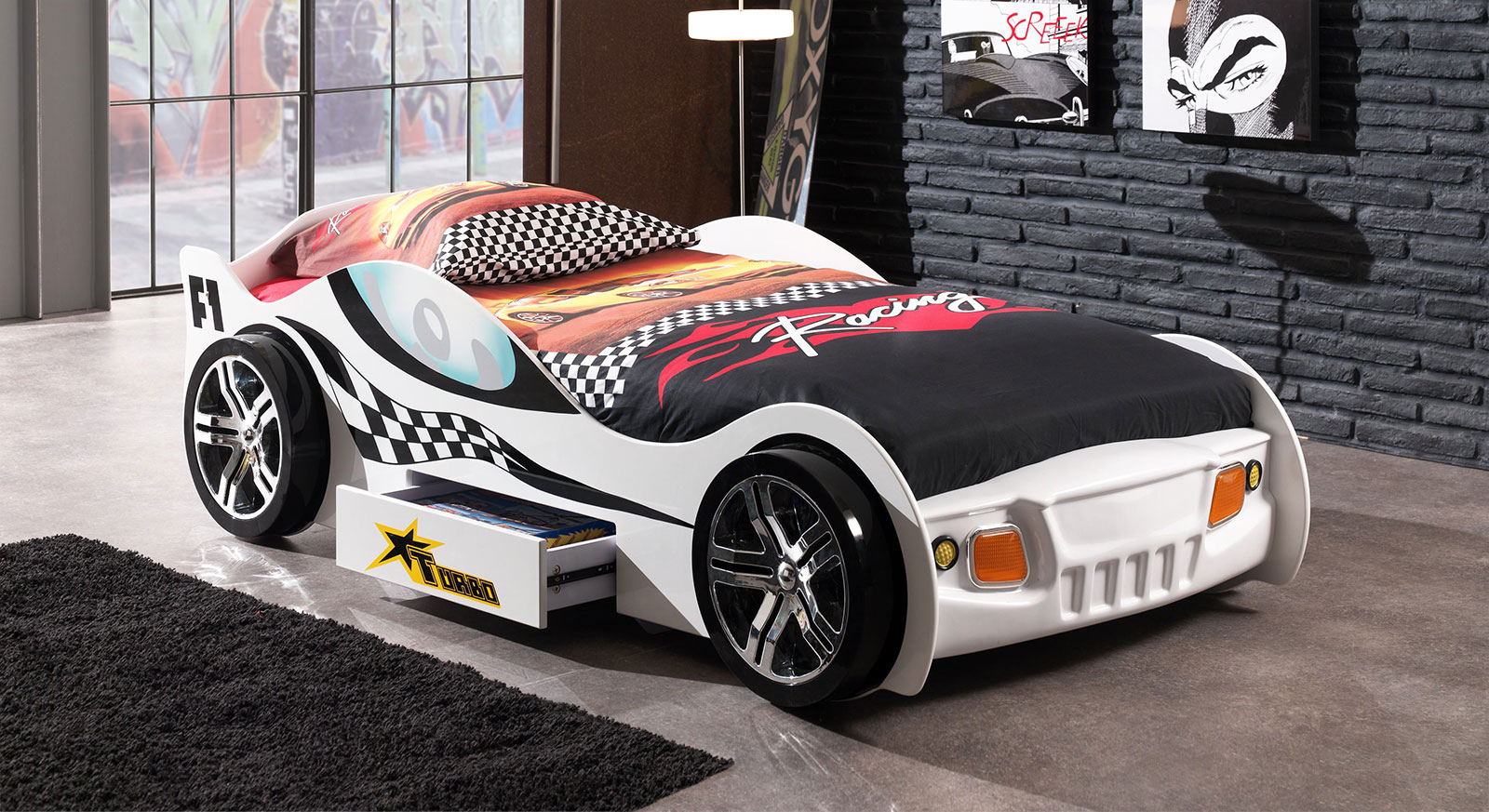 Weiß lackiertes Auto-Kinderbett Drift
