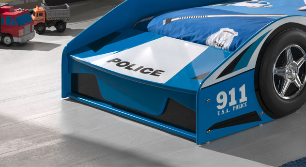 Autobett Blue Light im Polizei-Design