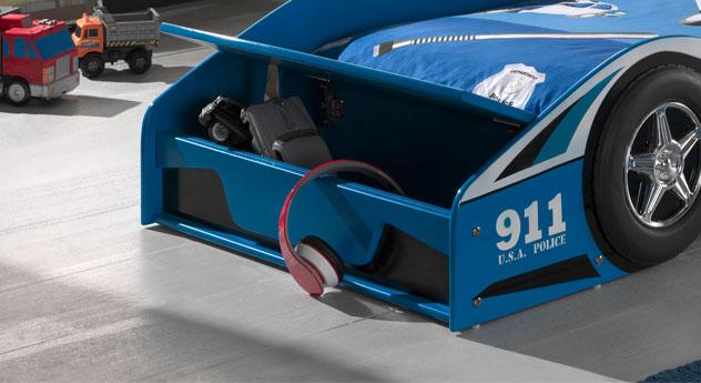 Autobett Blue Light mit integriertem Stauraumfach