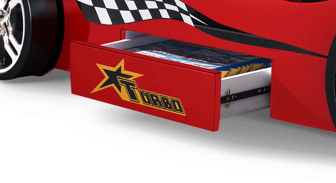 Autobett Drift rot mit geräumiger Schublade