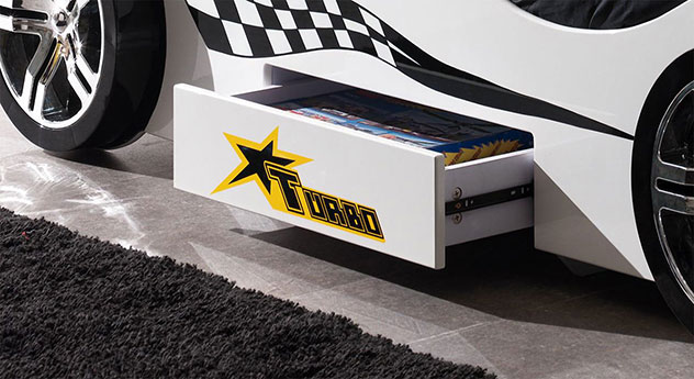 Autobett Drift weiß mit geräumiger Schublade