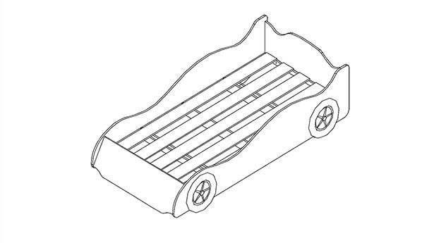 Autobett Grafik des 5-teiligen Lattenrosts