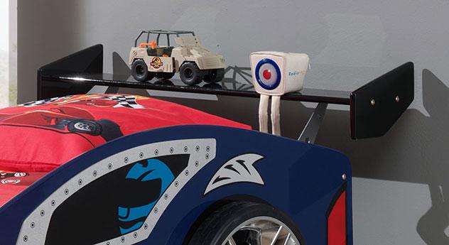 Autobett Hero blau mit zusätzlicher Ablagefläche