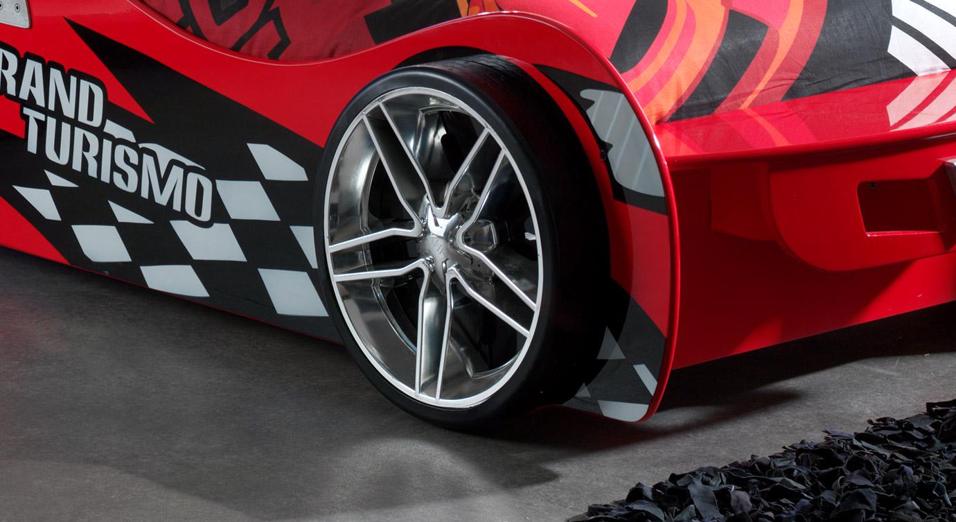 Autobett Hero rot mit Rennreifen als Fuß