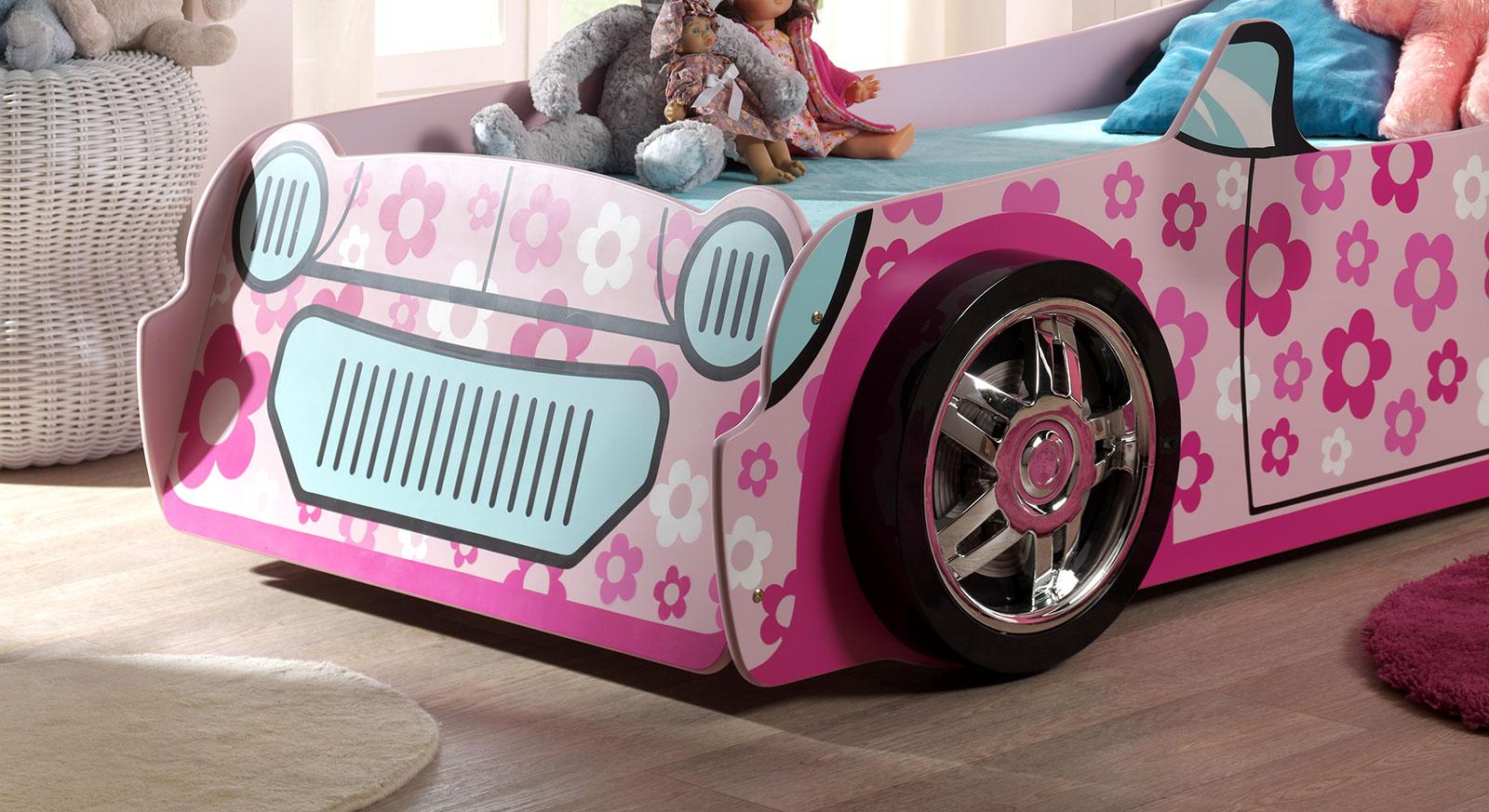 Autobett Little Lady mit verchromten Kunststoff-Felgen