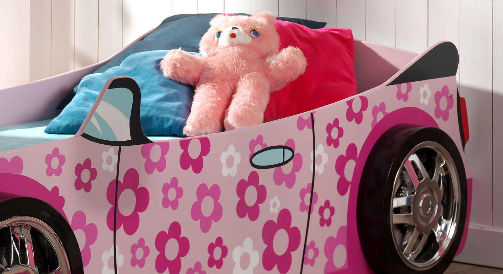Autobett Little Lady aus MDF rosafarben lackiert