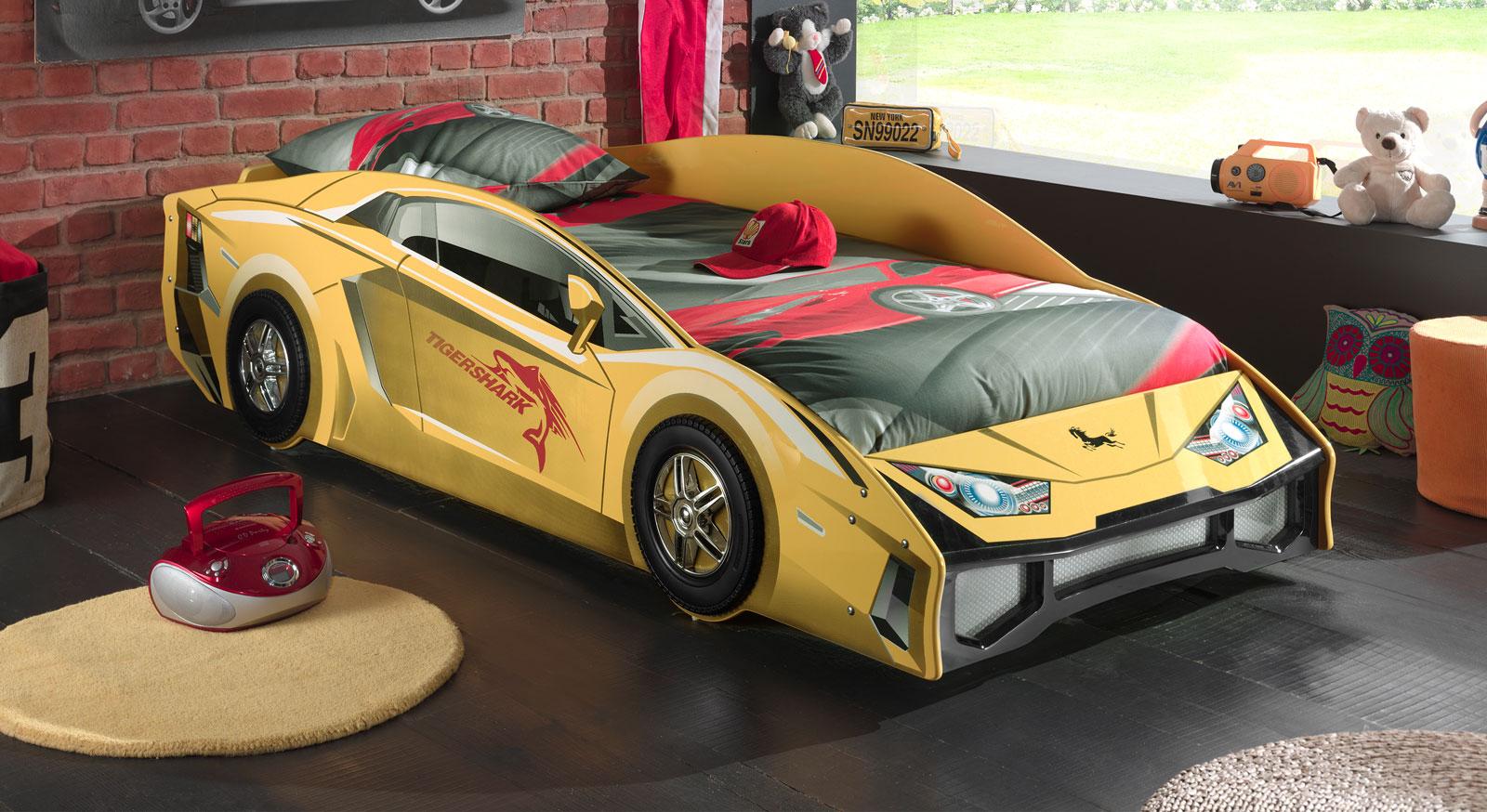 Hochwertiges Autobett Match in gelb für Kinder