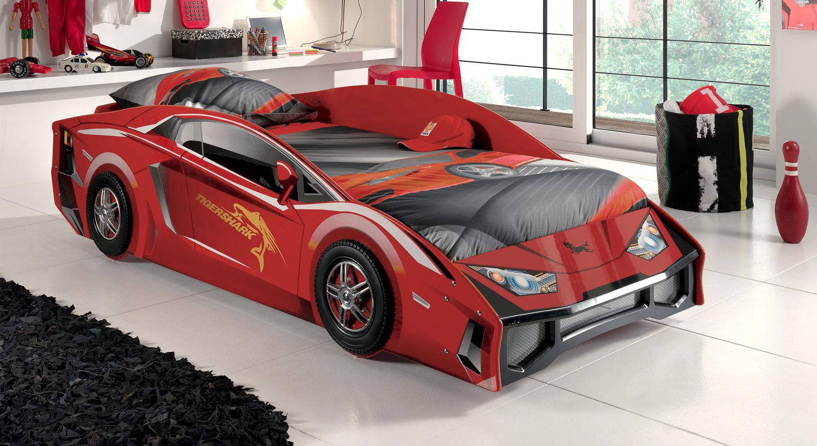 Hochwertiges Autobett Match rot für Kinder