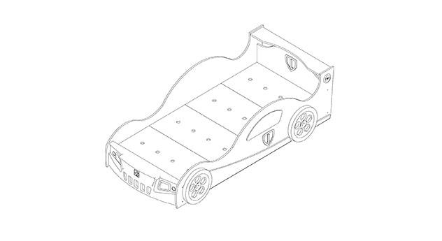 Grafik für die Matratzenauflage des Autobetts Speedfighter