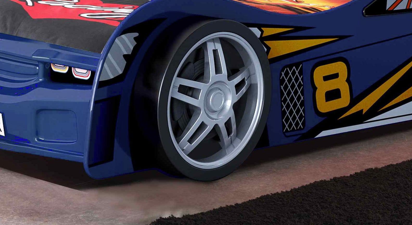 Autobett Spirit blau mit Alufelgen-Nachbildung