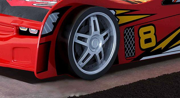 Fuß mit Felgen-Nachbildung vom Autobett Spirit rot