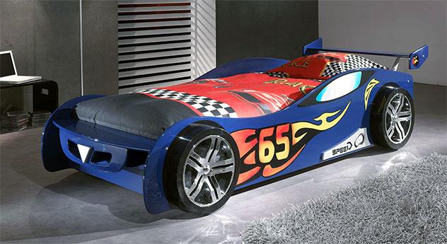 Blau lackiertes Autobett Tuning in 90x200 cm
