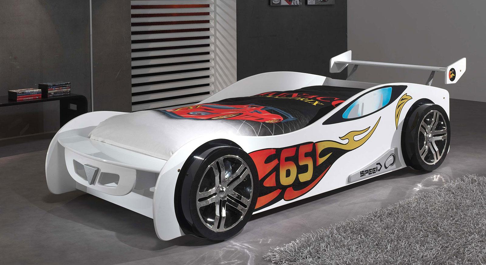 Weiß lackiertes Autobett Tuning in 90x200 cm