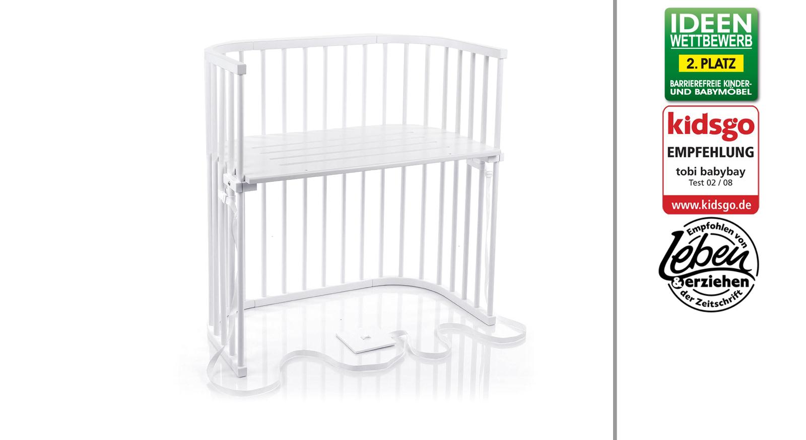 Anstellbettchen Babybay für Boxspringbetten in Buche weiß lackiert