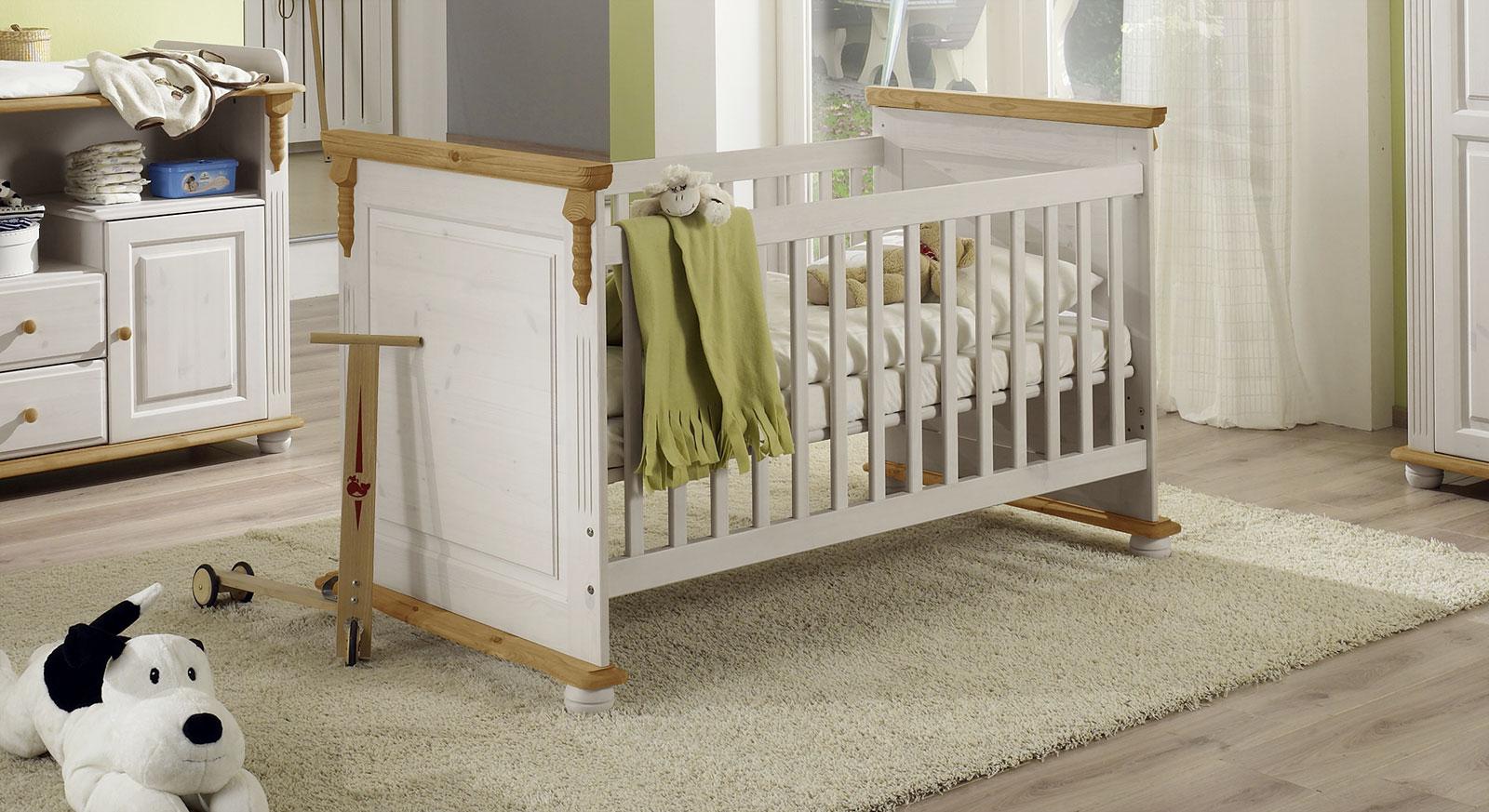 babybett im landhausstil 70x140 cm umbaubar countryside. Black Bedroom Furniture Sets. Home Design Ideas