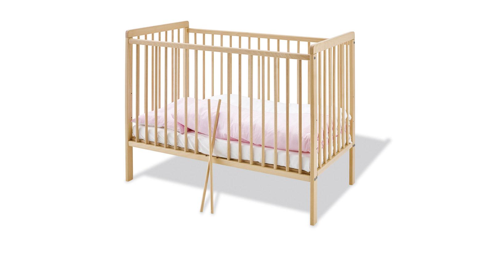 Babybett Hanna aus unbehandelter Buche mit Gitterstäben