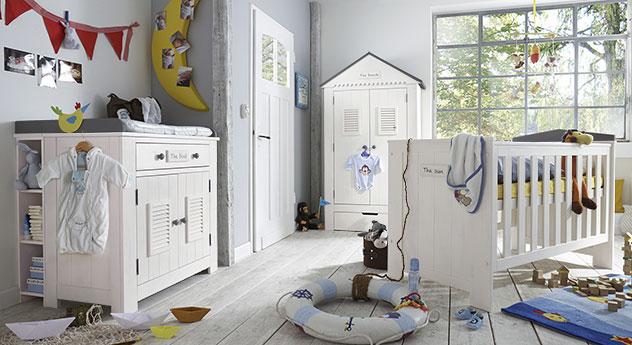 Modernes Babyzimmer Coastline aus Kiefernholz in Weiß