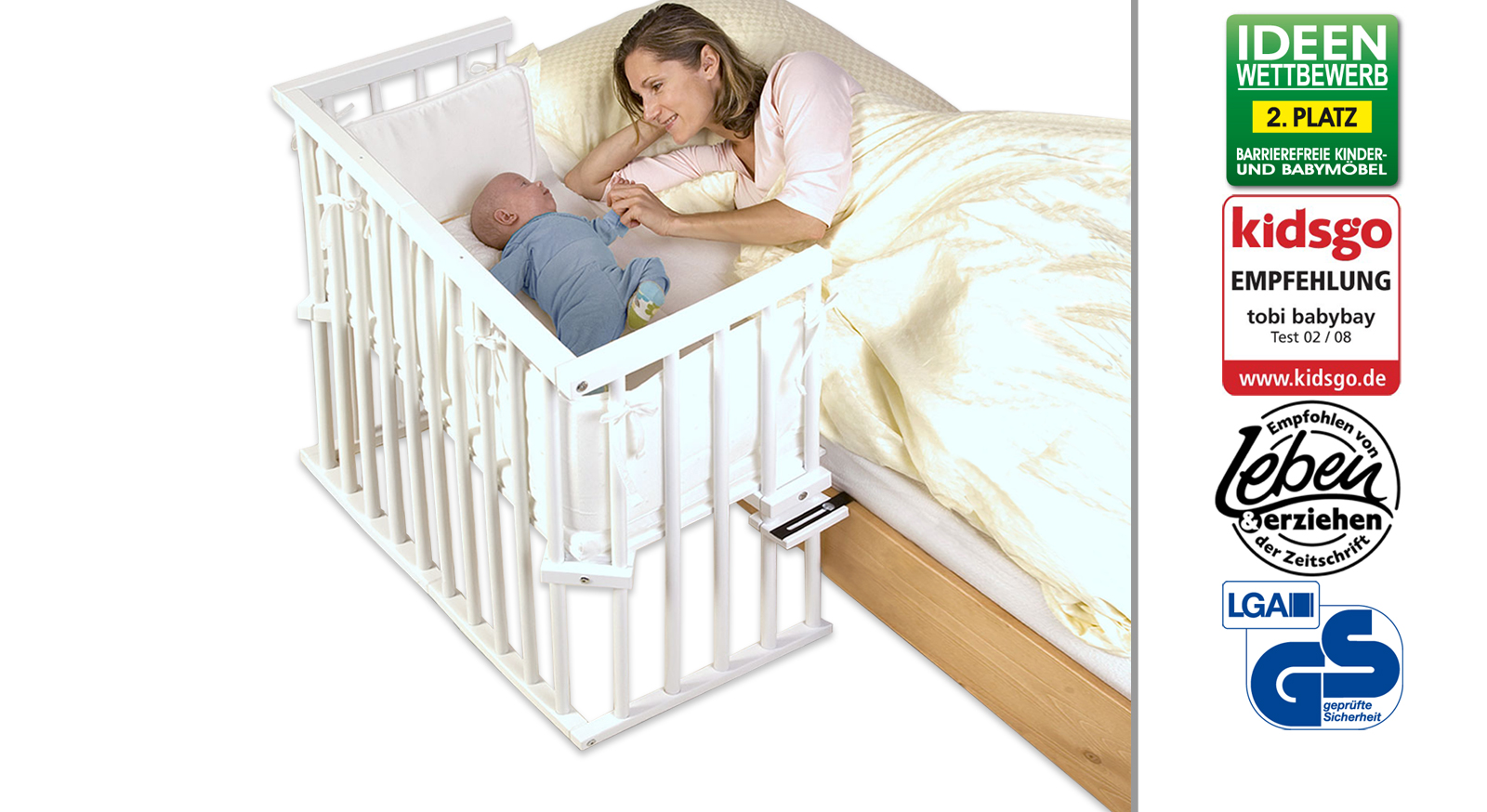 Beistellbett BabyBay Midi in Buche Weiß