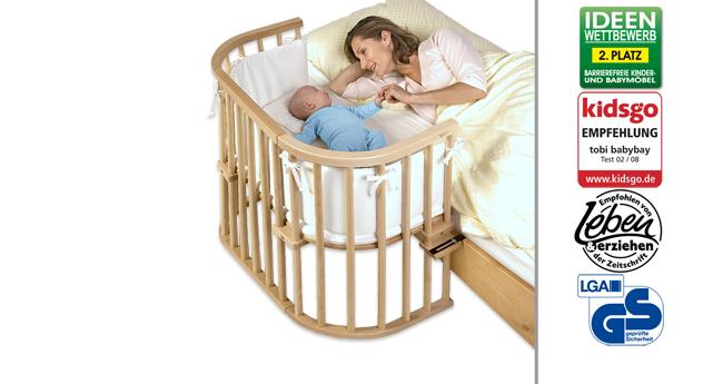 Beistellbett BabyBay Original in Buche natur lackiert
