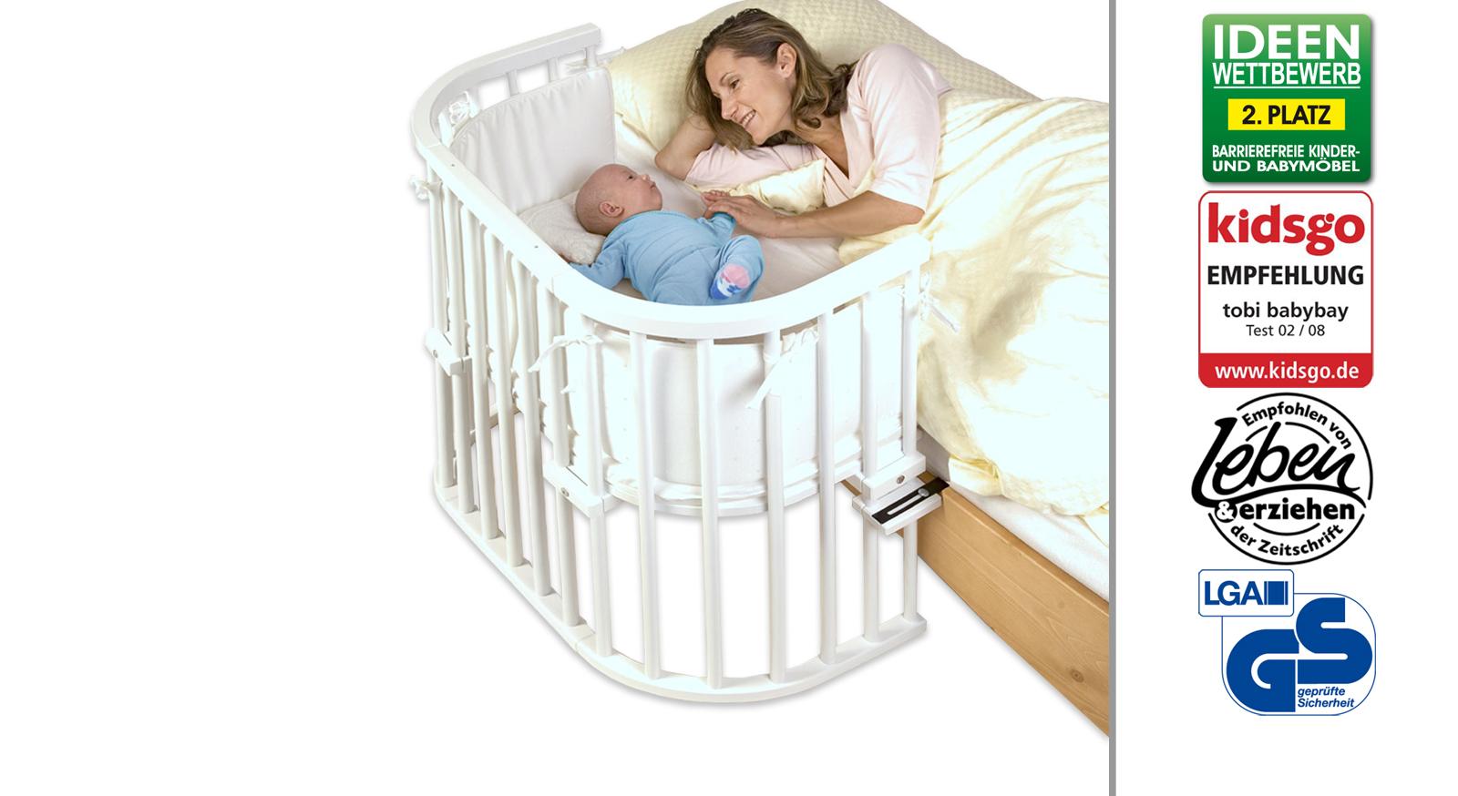 Beistellbett BabyBay Original in Buche weiß