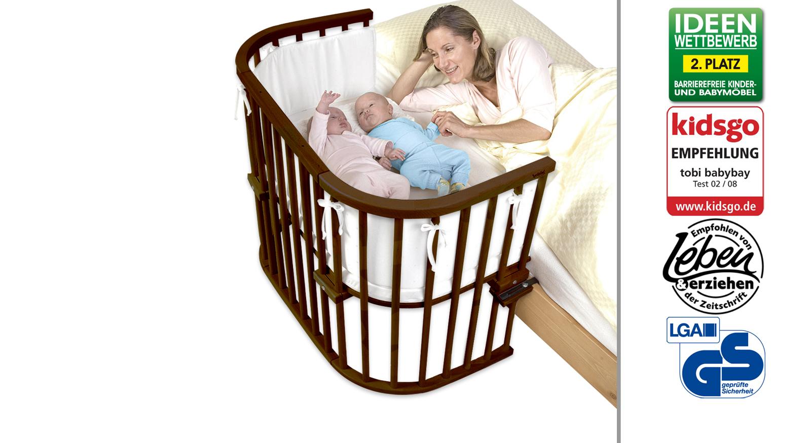 Beistellbettbett BabyBay Maxi in Buche dunkelbraun