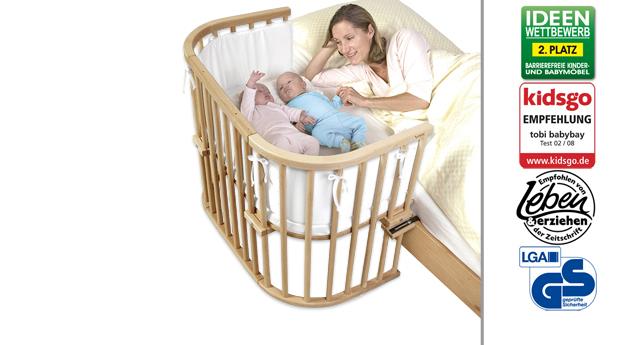 Beistellbettbett BabyBay Maxi in Buche natur lackiert