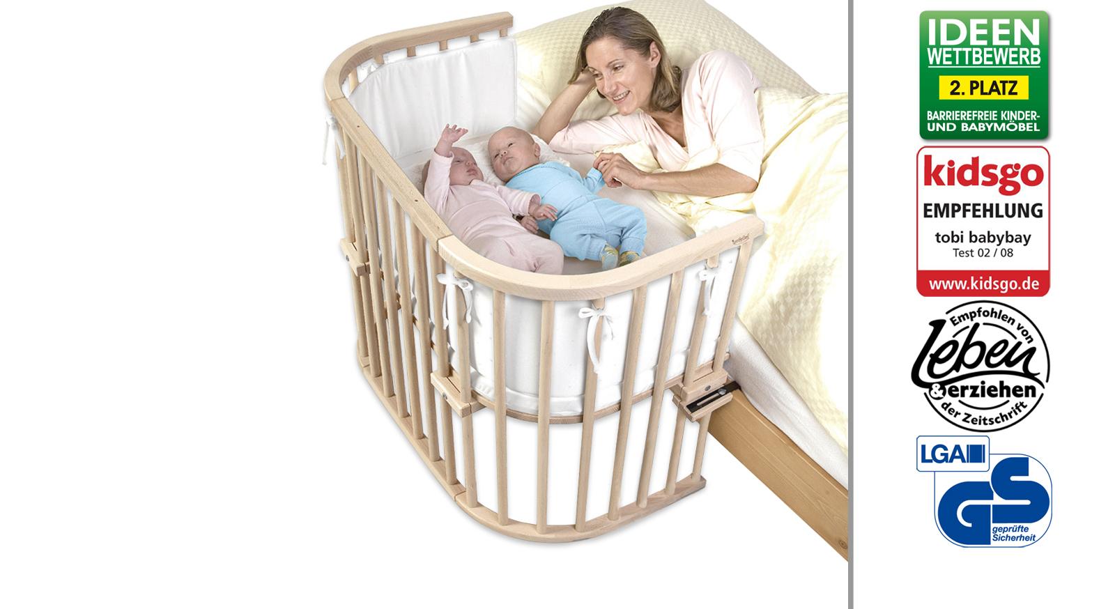 Beistellbett zwillinge  Beispielbett auch für Zwillinge geeignet - BabyBay Maxi