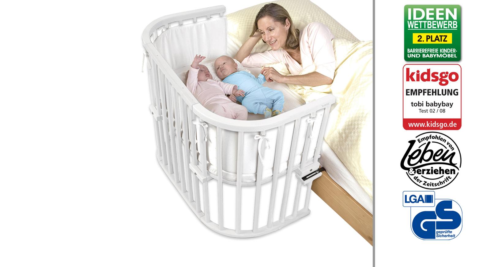 Beistellbettbett BabyBay Maxi in Buche weiß
