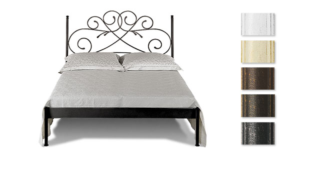 doppelbett romantisch z b in braun aus metall amarete. Black Bedroom Furniture Sets. Home Design Ideas
