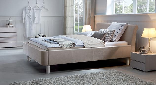 Bett Andorra in der Farbe sand in Buche weiß 20cm