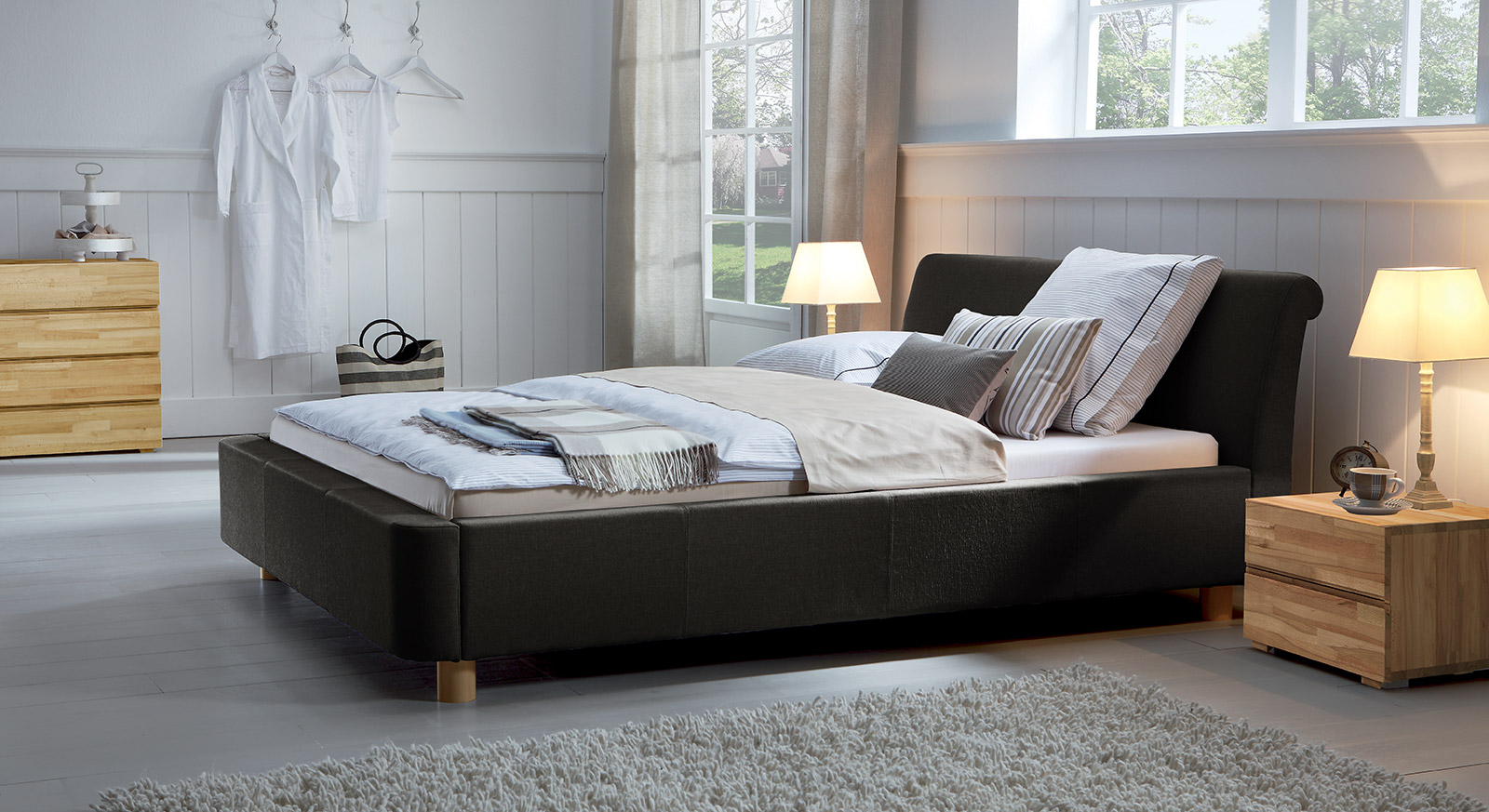 stoffbett als doppelbett z b in 200x220 erh ltlich andorra. Black Bedroom Furniture Sets. Home Design Ideas