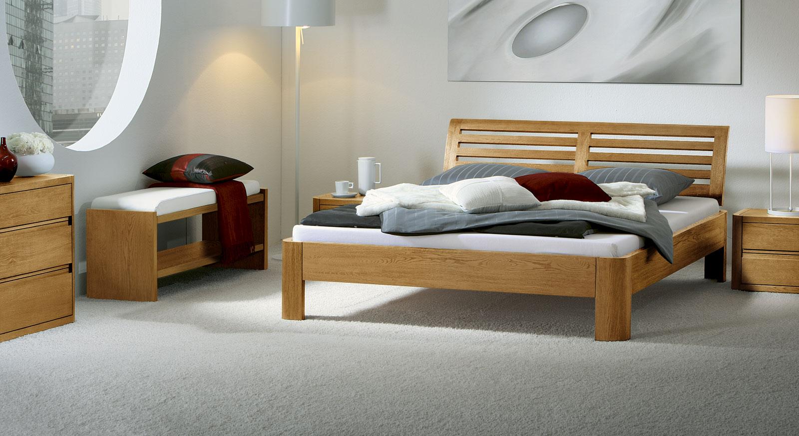 massivholzbett aus edler eiche z b in natur barcelona. Black Bedroom Furniture Sets. Home Design Ideas